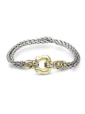 two tone Double Strand Horseshoe Bracelet handcrafted in the USA by John medeiros