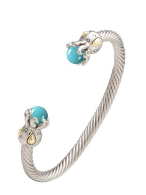 two tone open cuff bangle bracelet with octopus and turquoise ends handcrafted by john medeiros
