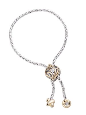 two tone Viana Filigree Heart Adjustable Bracelet handcrafted in the USA by john medeiros