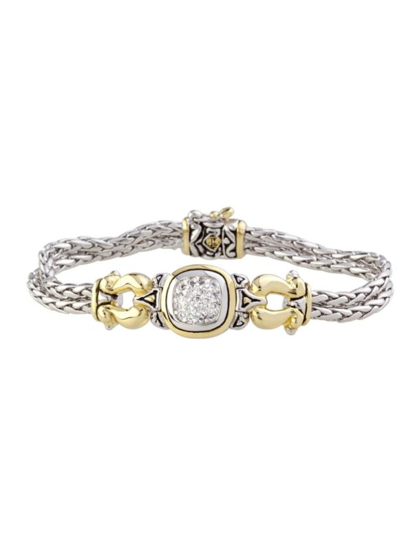 two tone Pavé Two Tone Two Strand Bracelet handcrafted in the USA by John Medeiros