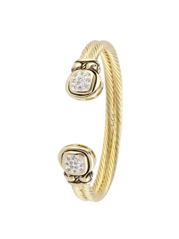 Anvil Gold & Pave Cuff Bracelet handmade by john medeiros