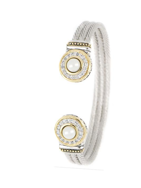 two tone Pave & Seashell Pearl Cuff handcrafted in the USA by john medeiros
