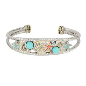 "Caraíba Collection Double Wire Cuff Bracelet by John Medeiros Jewelry Collections. Let the ocean vibe of the Caribbean shine through your style. Caraíba highlights nautilus, starfish and seashell elements. Center Motif: 2""W x 5/8""H"