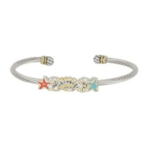 CARAÍBA COLLECTION TURQUOISE & CORAL STARFISH SINGLE WIRE CUFF BRACELET