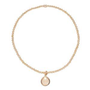 classic gold 2mm bead bracelet - clarity gold charm