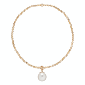 Classic Gold 2mm Bead Bracelet - Clarity Pearl Charm
