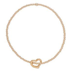 Classic Gold 2mm Bead Bracelet - Love Gold Charm