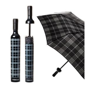 Black Plaid Wine Bottle Umbrella