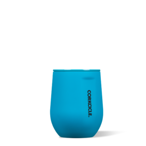 Stemless Wine Cup Neon Lights blue 12oz buttery soft-touch finish. corkcicle