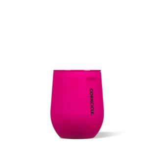 Stemless Wine Cup Neon Lights pink 12oz buttery soft-touch finish. corkcicle