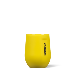 Stemless Wine Cup Neon Lights yellow 12oz buttery soft-touch finish. corkcicle