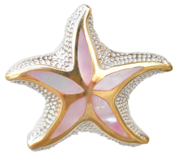 Sterling silver and 18kt gold Floating Starfish topper with mother of pearl by kovel