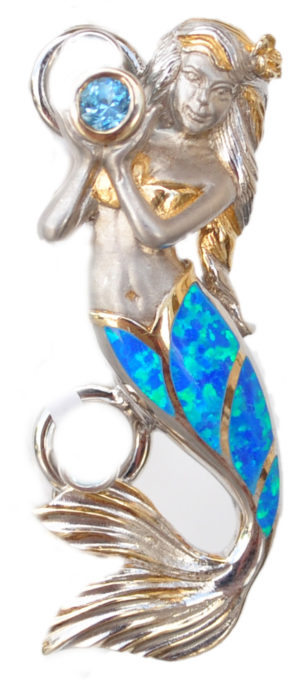 Sterling silver and 18kt gold mermaid with opals by kovel