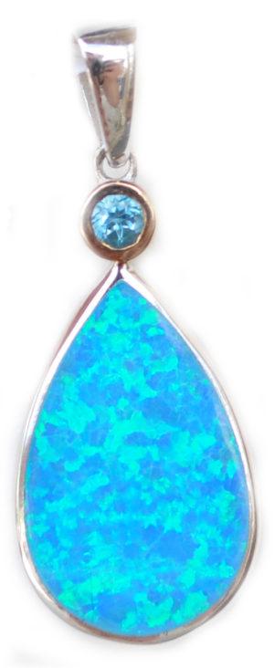 Crushed blue opal Tear Drop Pendant by kovel