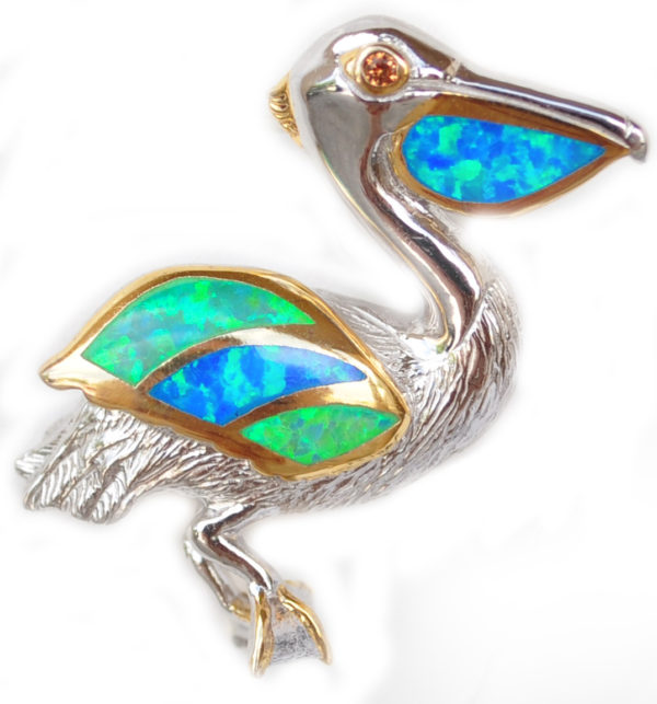 Sterling silver and 18kt gold Pelican Pendant with opals by kovel