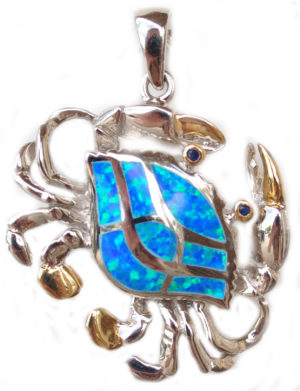 Sterling silver and 18kt gold blue crab pendants with opals by kovel