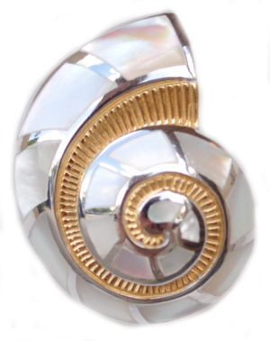 Sterling silver and 18kt gold Nautilus Shell Pendant with mother of pearl by kovel