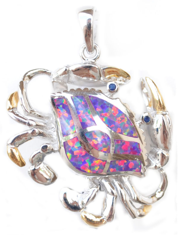 Sterling silver and 18kt gold Crab Pendant with opals by kovel