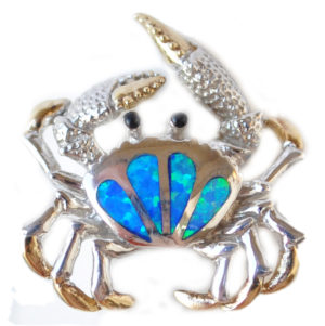 Sterling silver and 18kt gold blue crab ring with opals by kovel