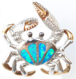 Sterling silver and 18kt gold blue crab earrings with opals by kovel
