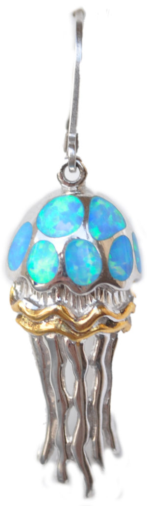 Sterling silver and 18kt gold Jellyfish earrings with opals by kovel
