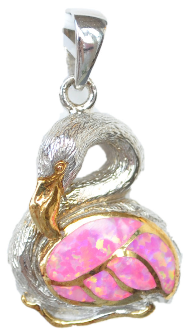 Kneeling Flamingo necklace Pendant with silver body and crushed pink opal wings by kovel