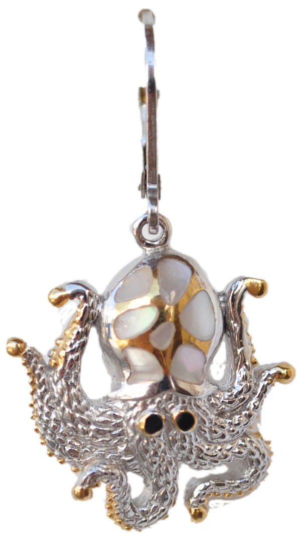 Sterling silver and 18kt gold Crawling Octopus earrings with mother of pearl by kovel