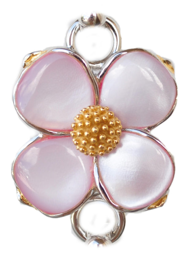 Sterling silver and 18kt gold pink dogwood Topper with mother of pearl by kovel
