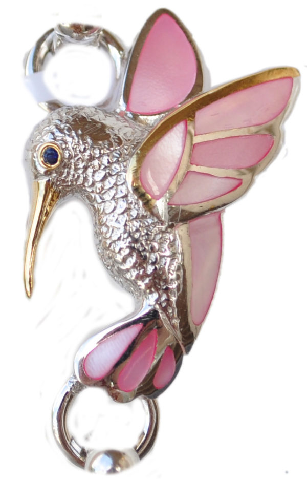 Sterling silver and 18kt gold Humming Bird Topper with mother of pearl by kovel