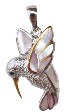 Sterling silver and 18kt gold Humming Bird pendant with mother of pearl by kovel