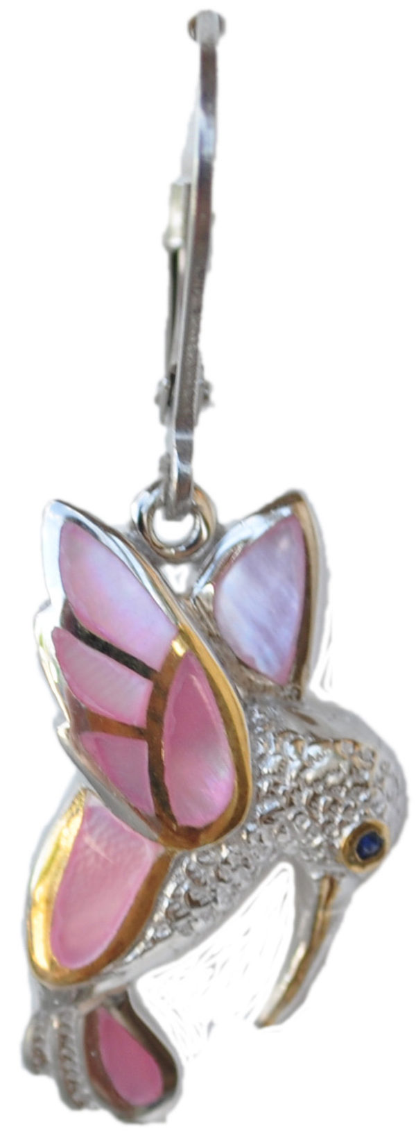 Sterling silver and 18kt gold Humming Bird earrings with mother of pearl by kovel