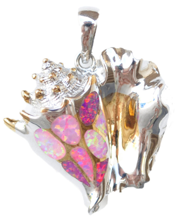 Queen Conch Pendant with pink crushed opals by kovel