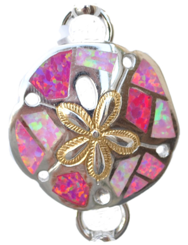 Sterling silver and 18kt gold Sand Dollar topper with opals by kovel