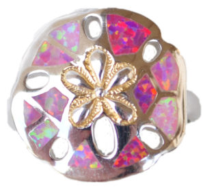 Sterling silver and 18kt gold Sand Dollar Ring with opals by kovel