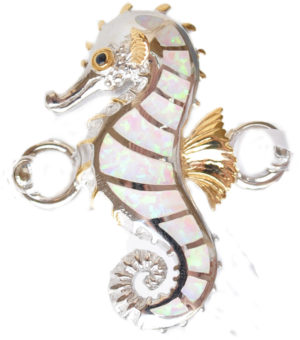 Sterling silver and 18kt gold seahorse Topper with opals by kovel