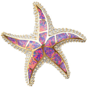 Sterling silver and 18kt gold Starfish Pendant with opals by kovel