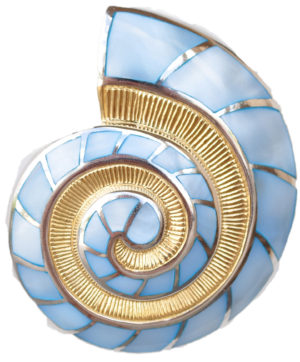 Sterling silver and 18kt gold Nautilus Pendant with mother of pearl by kovel