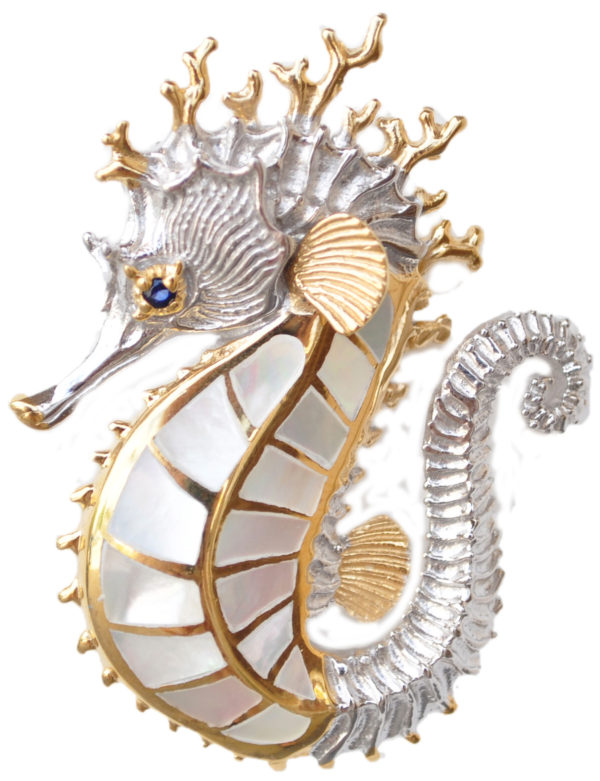 Sterling silver and 18kt gold Yo Seahorse Pendant with mother of pearl by kovel