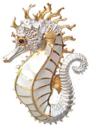 two tone Yo Yo Spiky Seahorse with white mother of pearl body by kovel