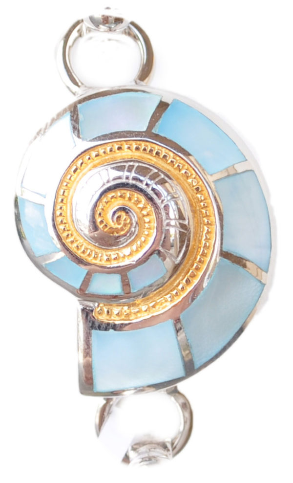 Sterling silver and 18kt gold nautilus topper with mother of pearl by kovel