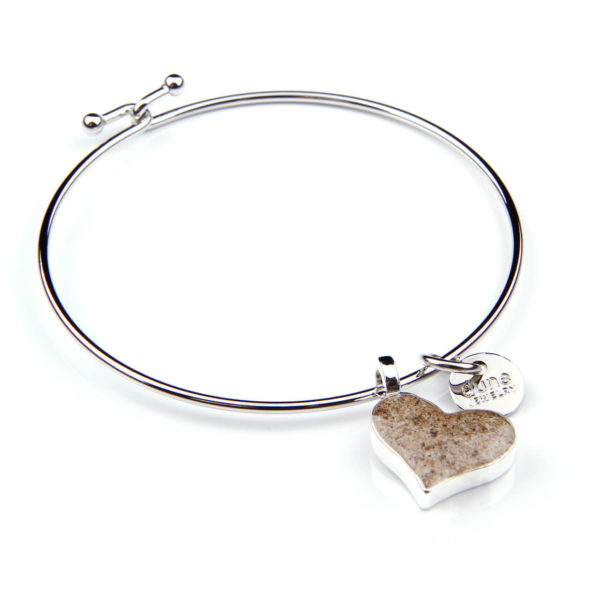 dune jewelry heart bangle with sand handmade in the USA by dune jewelry