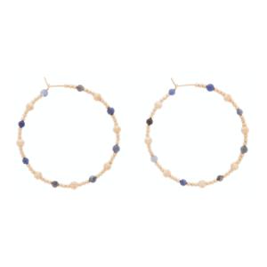 "Beaded 1.75"" Hoop - Dignity Gold Sincerity Pattern - Gemstone"