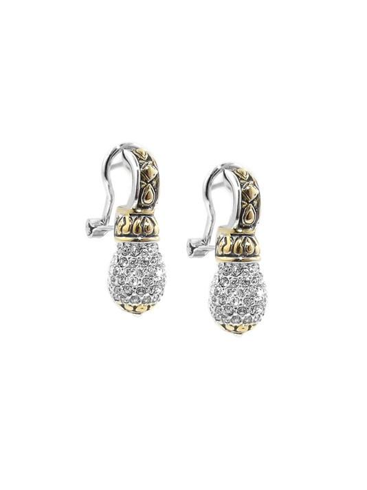 two tone pave drop earrings handcrafted by john medeiros