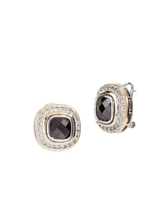 two tone black stone Pave Accented Square Post with Clip Earrings handcrafted in the USA by John Medeiros
