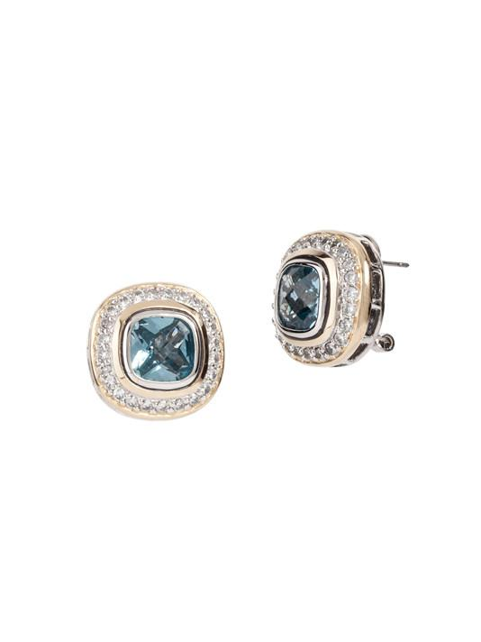 two tone aqua stone Pave Accented Square Post with Clip Earrings handcrafted in the USA by John Medeiros