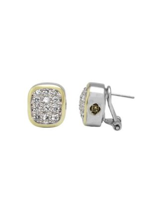 two tone Pavé Post with Clip Earrings handcrafted in the USA by John Medeiros