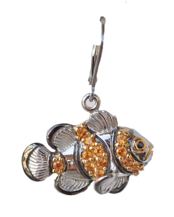 Sterling silver and 18kt gold Fancy Clownfish earrings with opals by kovel