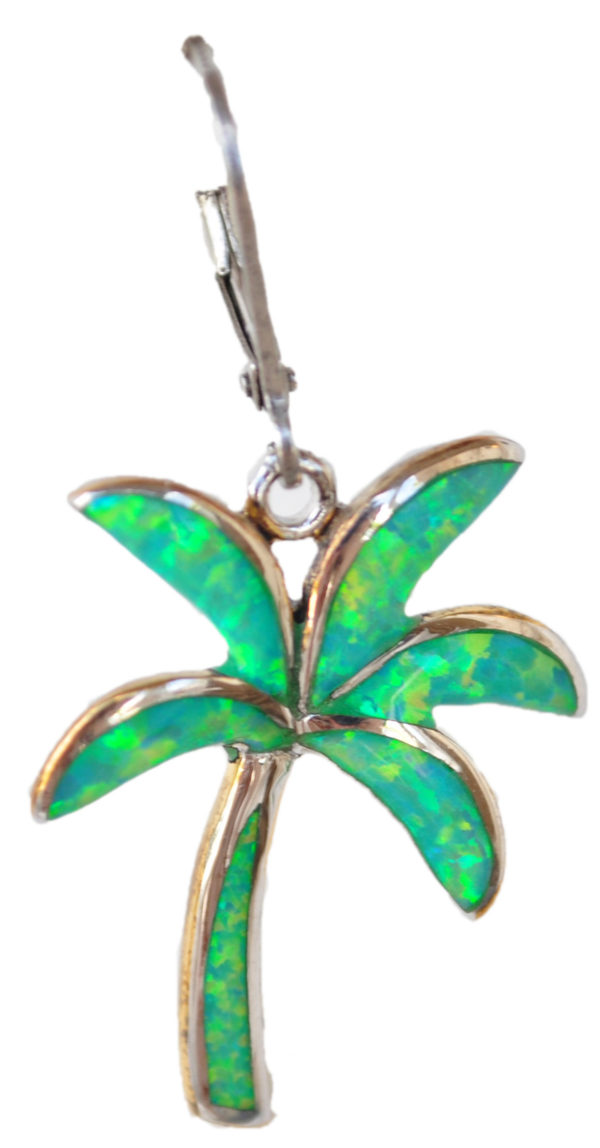 Sterling silver and 18kt gold Island Palm Tree Earrings with opals by kovel