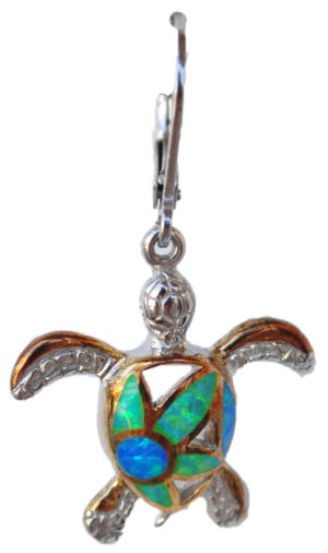 Sterling silver and 18kt gold Filigree Flower Turtle earrings with opals by kovel