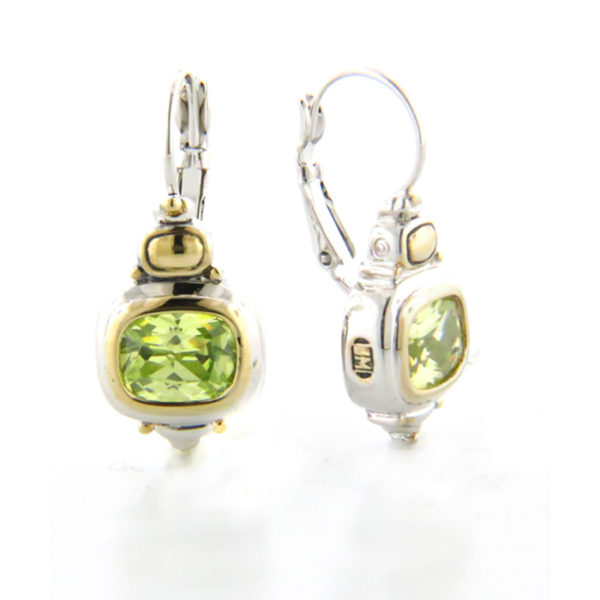 two tone Double French Peridot Wire Earrings